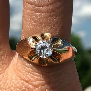 Vintage 10k Yellow Gold Men's Solitaire Ring